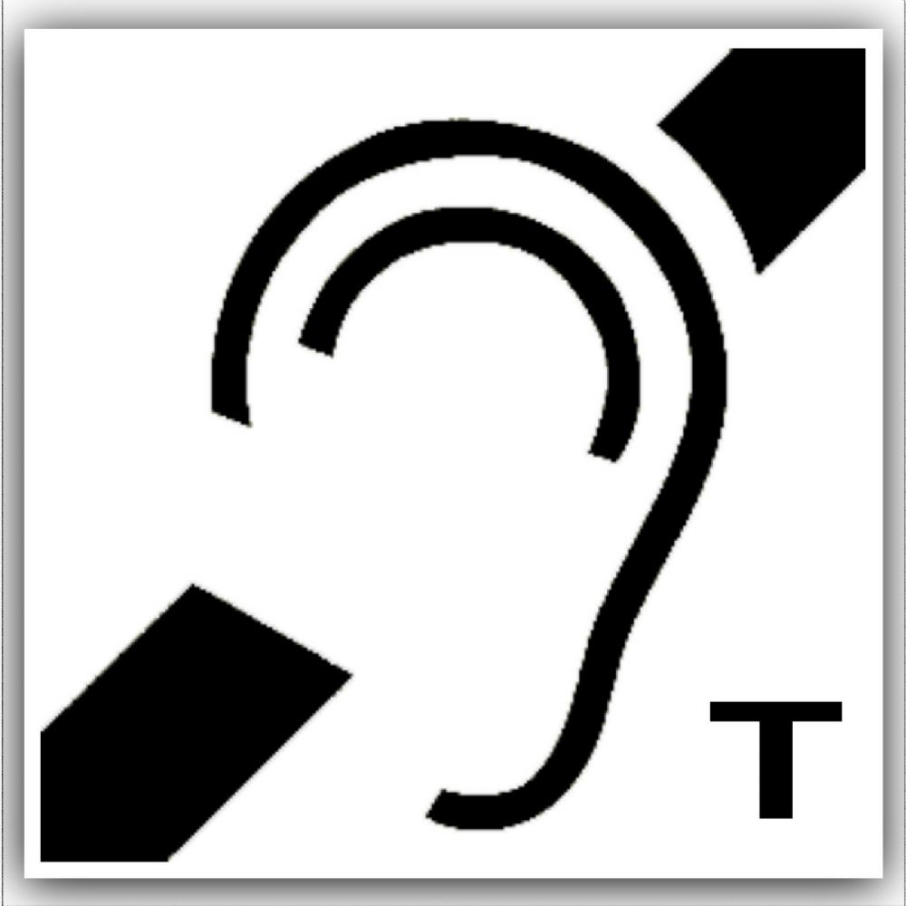 1 X Hard Of Hearing Induction Loop Stickers With T Symbol